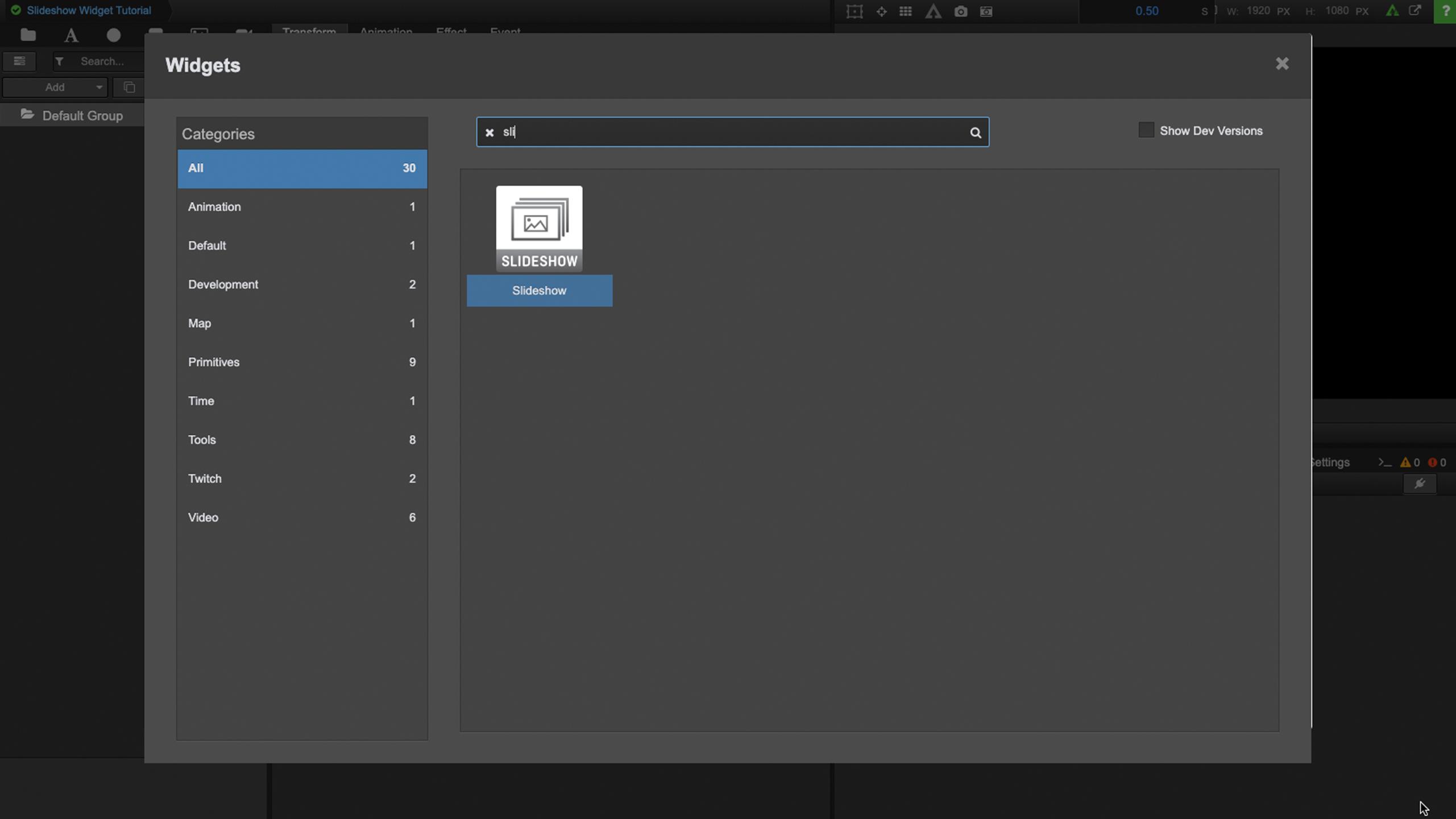 Slideshow Widget Tutorial – Singular Live